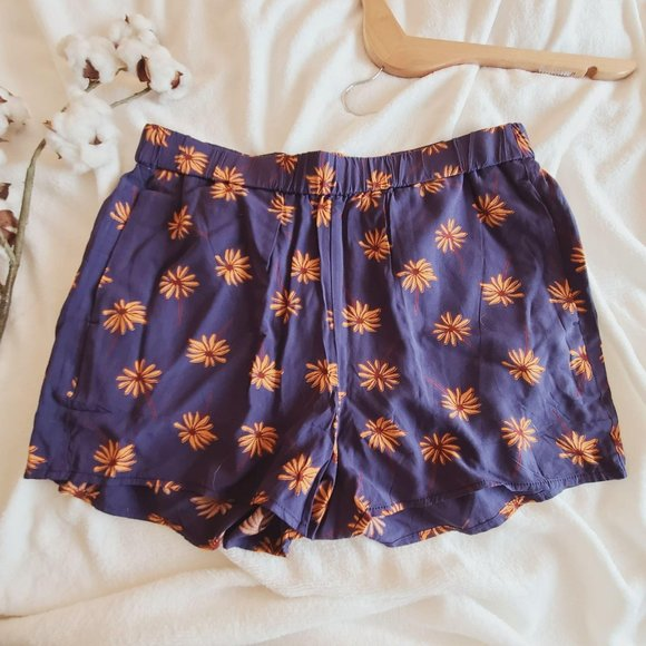 Madewell Fresh Daisy's Pull On Cotton Short Navy M